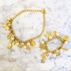 Nautical Seahorse Necklace & Bracelet Set Gold